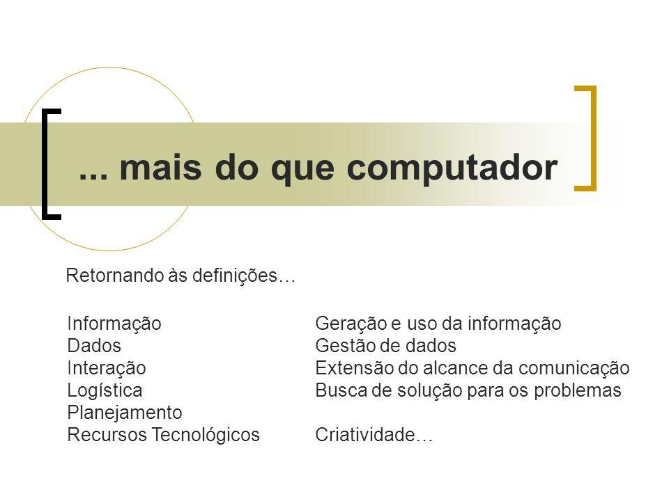 ... mais do que computador Geração e uso da informação Gestão de dados Extensão do alcance da comunicação Busca de solução para os problemas Criativid