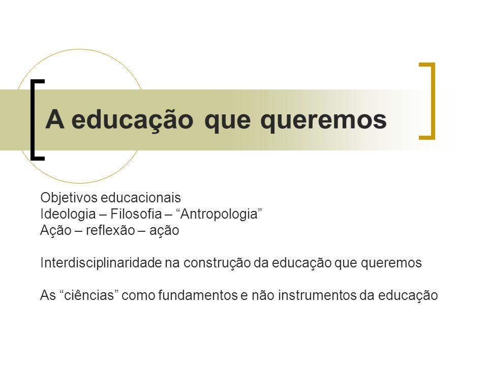 A educação que queremos Objetivos educacionais Ideologia – Filosofia – Antropologia Ação – reflexão – ação Interdisciplinaridade na construção da educ