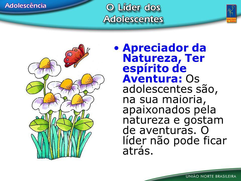 Apreciador da Natureza, Ter espírito de Aventura: Os adolescentes são, na sua maioria, apaixonados pela natureza e gostam de aventuras. O líder não po