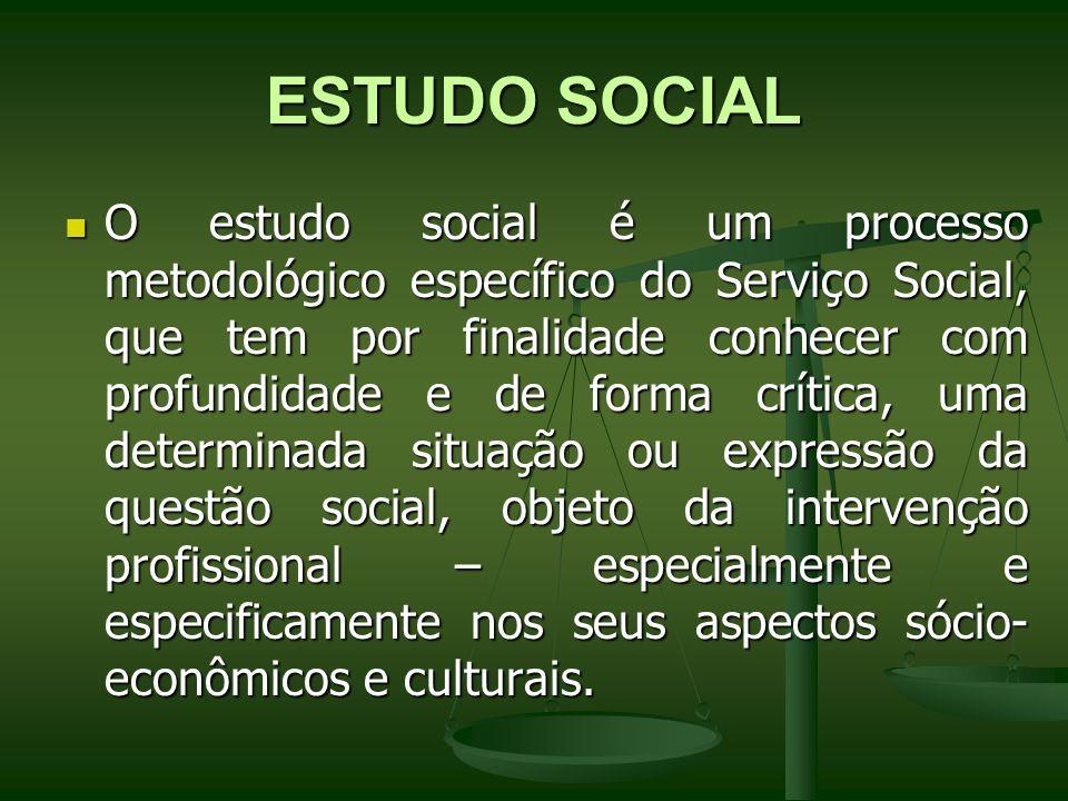 ESTUDO SOCIAL O estudo social é um processo metodológico específico do Serviço Social, que tem por finalidade conhecer com profundidade e de forma crí