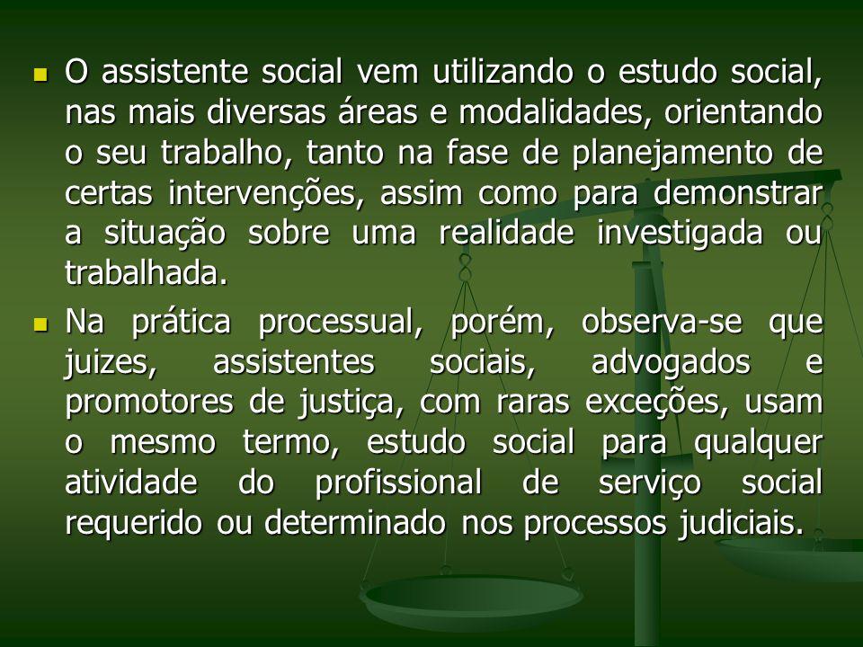 O assistente social vem utilizando o estudo social, nas mais diversas áreas e modalidades, orientando o seu trabalho, tanto na fase de planejamento de
