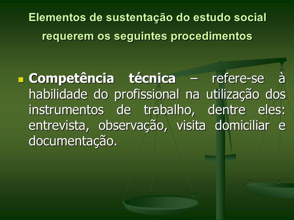 Elementos de sustentação do estudo social requerem os seguintes procedimentos Competência técnica – refere-se à habilidade do profissional na utilizaç