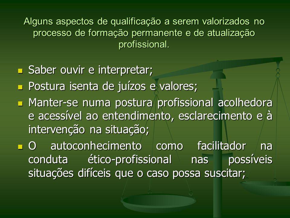 Alguns aspectos de qualificação a serem valorizados no processo de formação permanente e de atualização profissional. Saber ouvir e interpretar; Saber