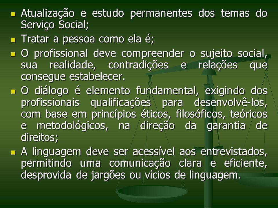 Atualização e estudo permanentes dos temas do Serviço Social; Atualização e estudo permanentes dos temas do Serviço Social; Tratar a pessoa como ela é