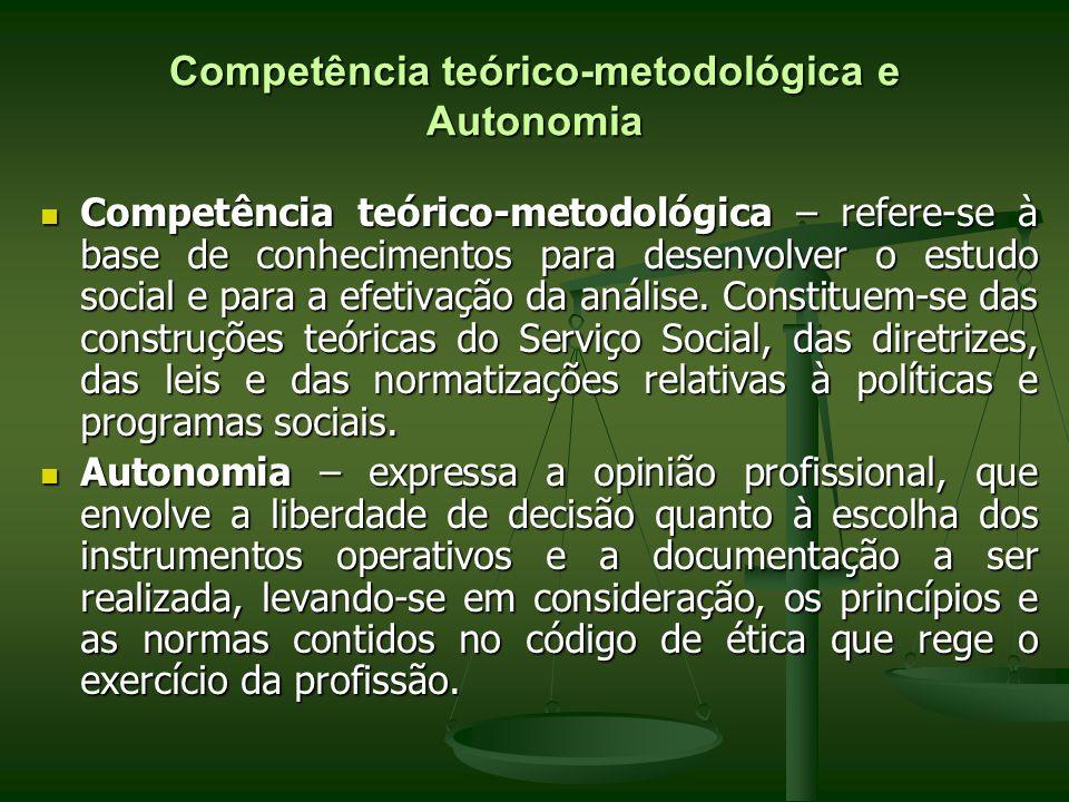 Competência teórico-metodológica e Autonomia Competência teórico-metodológica – refere-se à base de conhecimentos para desenvolver o estudo social e p