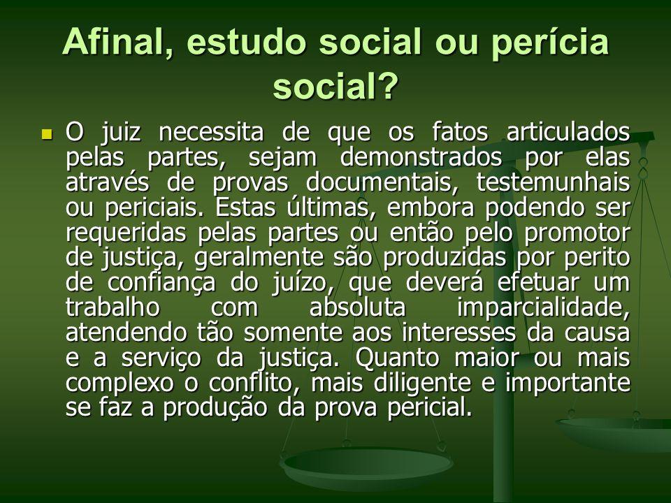 Afinal, estudo social ou perícia social? O juiz necessita de que os fatos articulados pelas partes, sejam demonstrados por elas através de provas docu