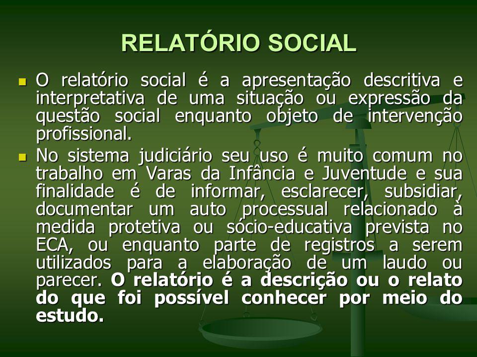 RELATÓRIO SOCIAL O relatório social é a apresentação descritiva e interpretativa de uma situação ou expressão da questão social enquanto objeto de int