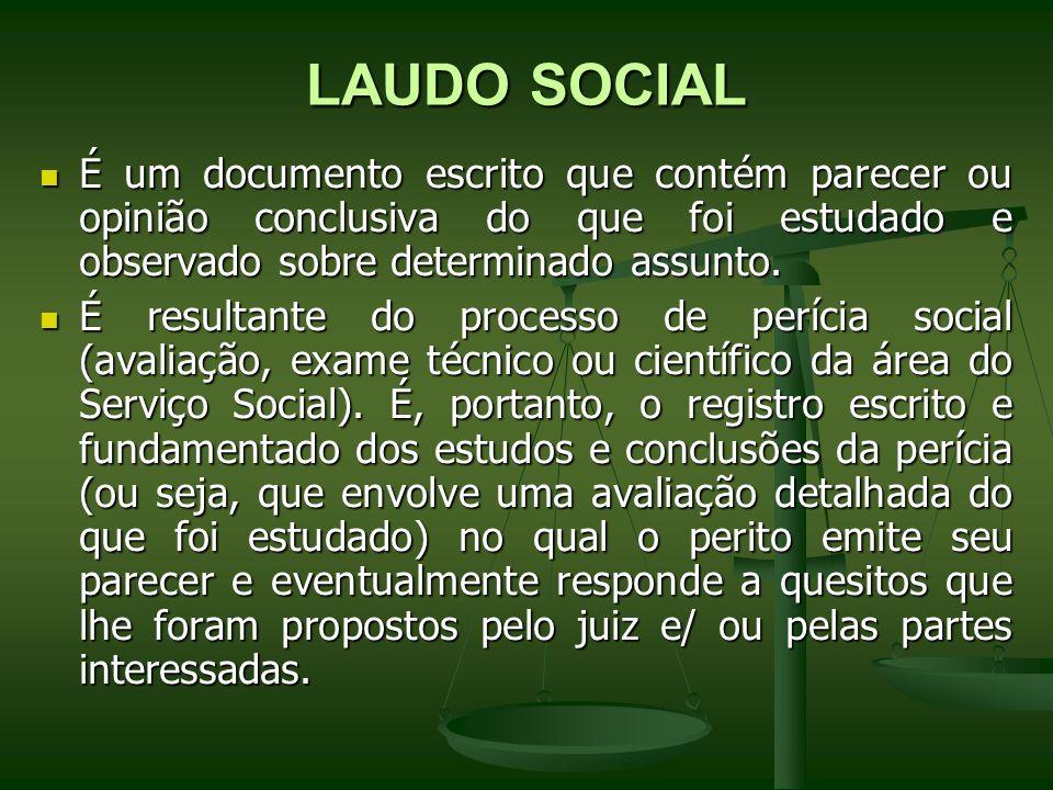 LAUDO SOCIAL É um documento escrito que contém parecer ou opinião conclusiva do que foi estudado e observado sobre determinado assunto. É um documento