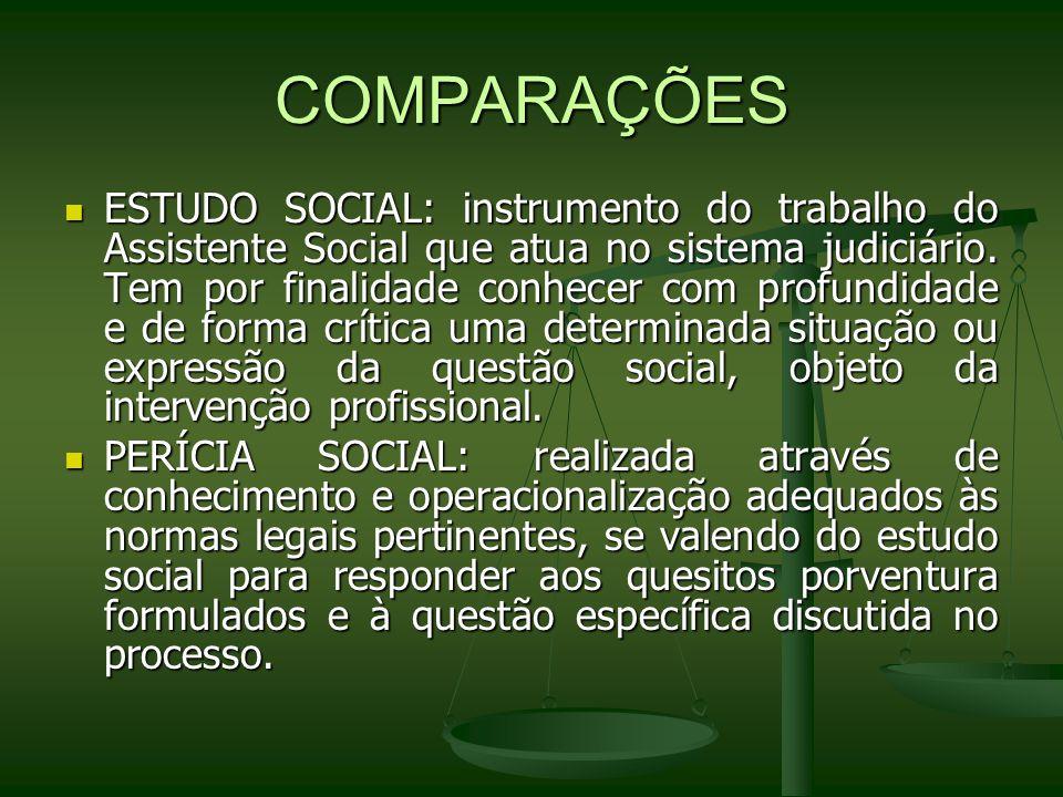 COMPARAÇÕES ESTUDO SOCIAL: instrumento do trabalho do Assistente Social que atua no sistema judiciário. Tem por finalidade conhecer com profundidade e