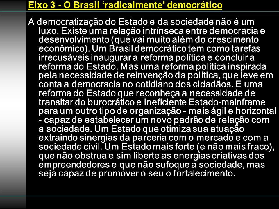 Eixo 3 - O Brasil radicalmente democrático A democratização do Estado e da sociedade não é um luxo. Existe uma relação intrínseca entre democracia e d
