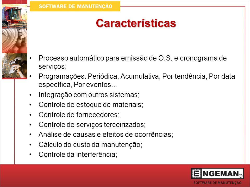 Características Processo automático para emissão de O.S. e cronograma de serviços; Programações: Periódica, Acumulativa, Por tendência, Por data espec