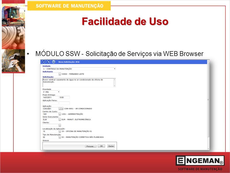 Facilidade de Uso MÓDULO SSW - Solicitação de Serviços via WEB Browser