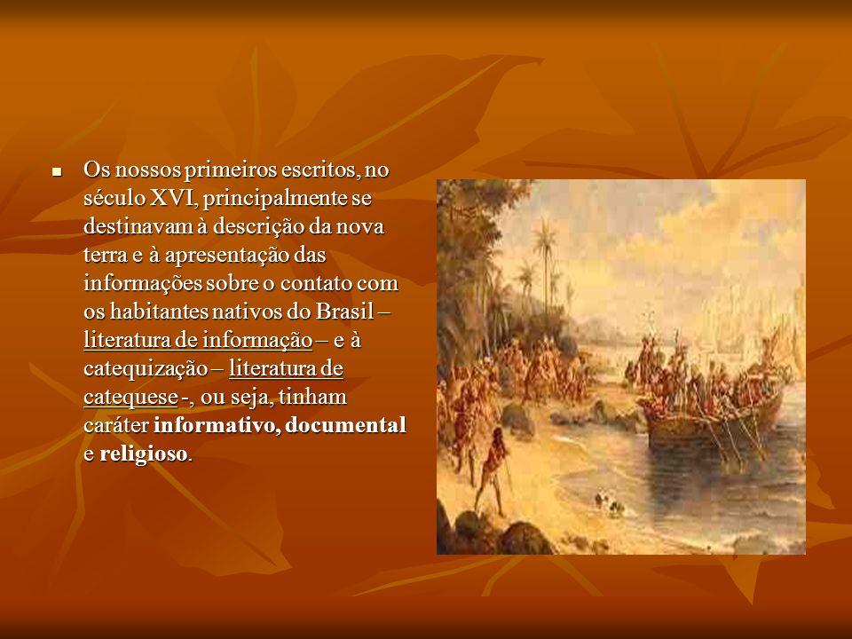 Os nossos primeiros escritos, no século XVI, principalmente se destinavam à descrição da nova terra e à apresentação das informações sobre o contato c