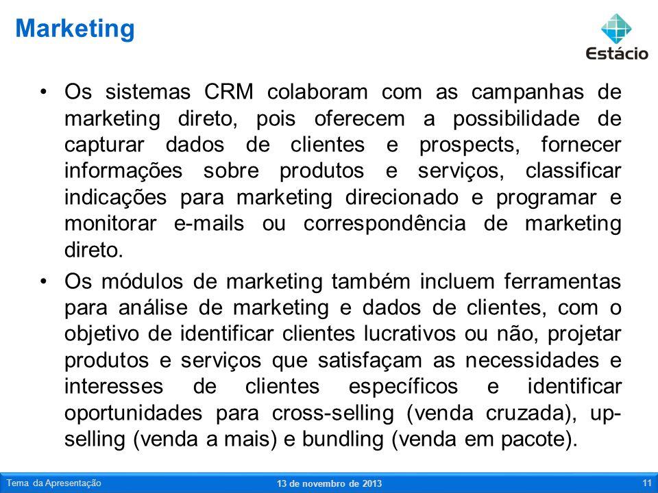 Os sistemas CRM colaboram com as campanhas de marketing direto, pois oferecem a possibilidade de capturar dados de clientes e prospects, fornecer info