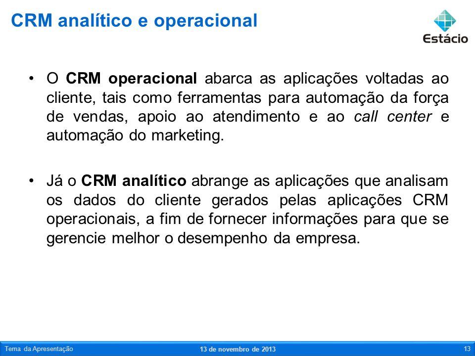 O CRM operacional abarca as aplicações voltadas ao cliente, tais como ferramentas para automação da força de vendas, apoio ao atendimento e ao call ce