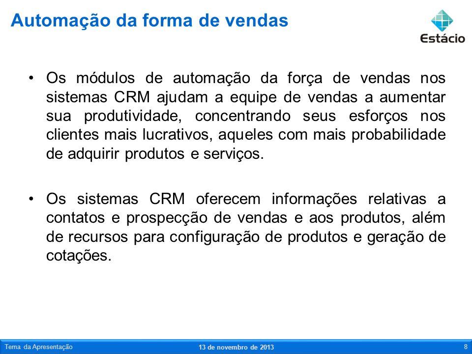Os módulos de automação da força de vendas nos sistemas CRM ajudam a equipe de vendas a aumentar sua produtividade, concentrando seus esforços nos cli