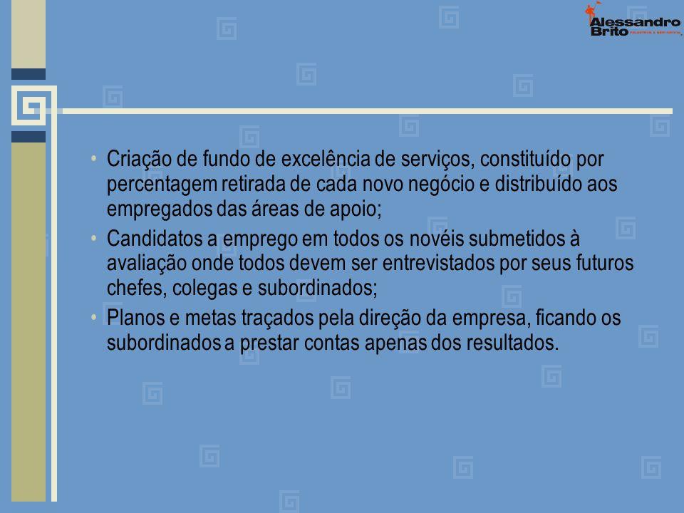 Criação de fundo de excelência de serviços, constituído por percentagem retirada de cada novo negócio e distribuído aos empregados das áreas de apoio;