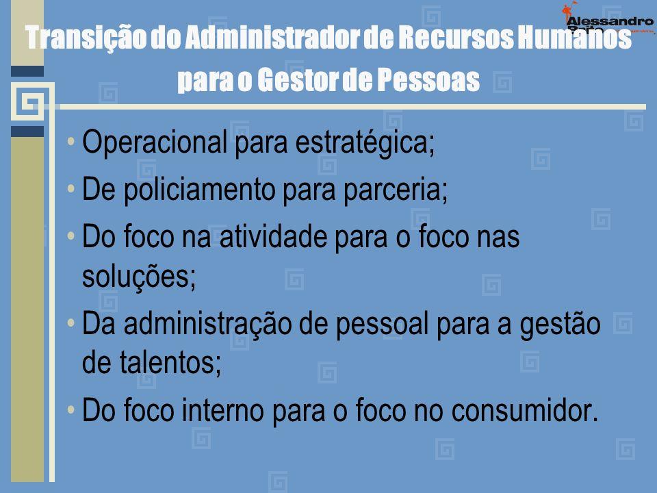 Transição do Administrador de Recursos Humanos para o Gestor de Pessoas Operacional para estratégica; De policiamento para parceria; Do foco na ativid