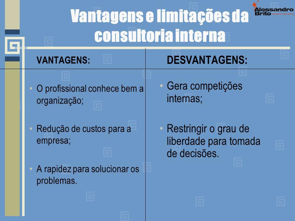 Vantagens e limitações da consultoria interna VANTAGENS: O profissional conhece bem a organização; Redução de custos para a empresa; A rapidez para so