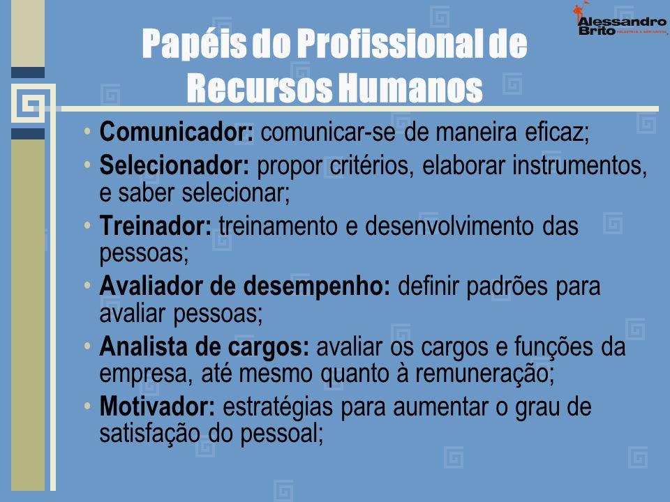 Papéis do Profissional de Recursos Humanos Comunicador: comunicar-se de maneira eficaz; Selecionador: propor critérios, elaborar instrumentos, e saber