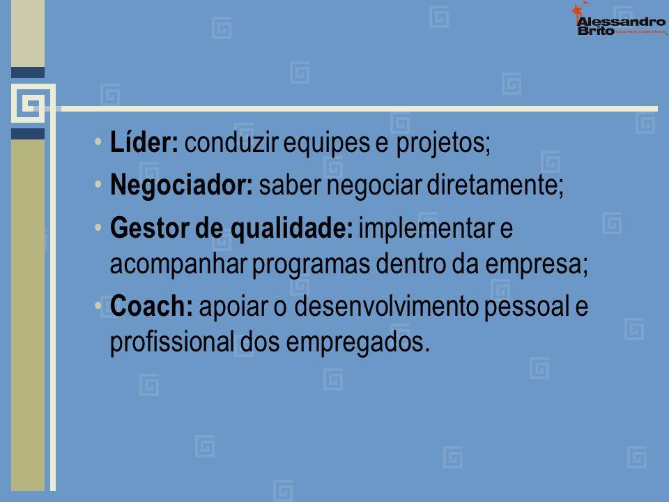Líder: conduzir equipes e projetos; Negociador: saber negociar diretamente; Gestor de qualidade: implementar e acompanhar programas dentro da empresa;