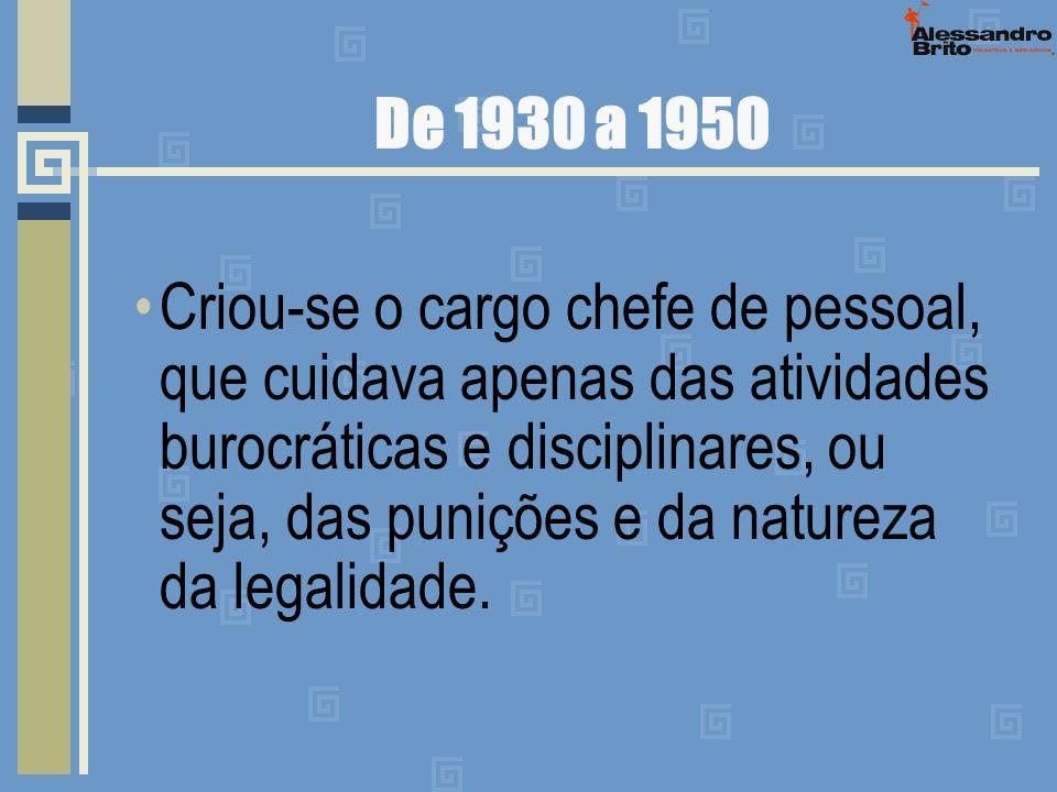De 1930 a 1950 Criou-se o cargo chefe de pessoal, que cuidava apenas das atividades burocráticas e disciplinares, ou seja, das punições e da natureza