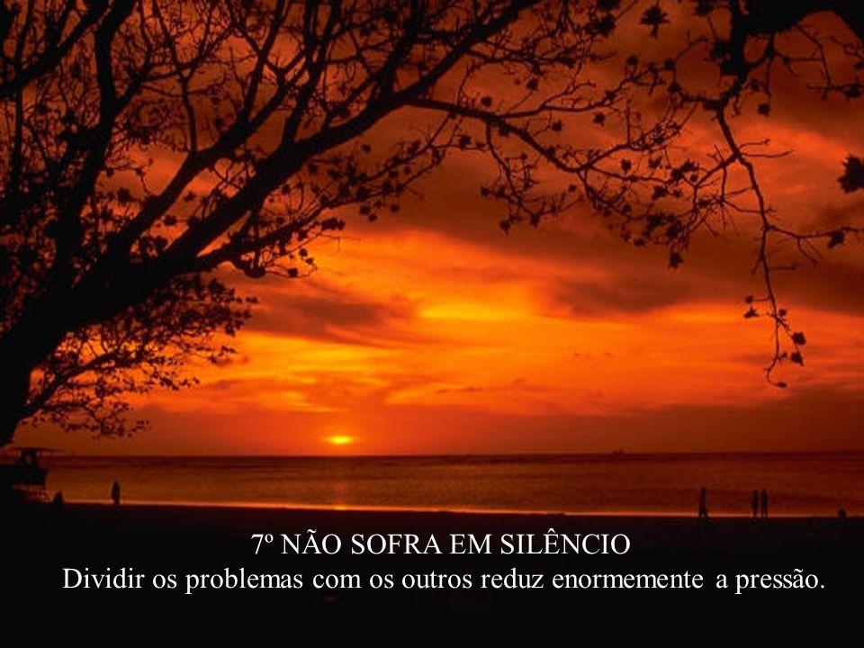 7º NÃO SOFRA EM SILÊNCIO Dividir os problemas com os outros reduz enormemente a pressão.