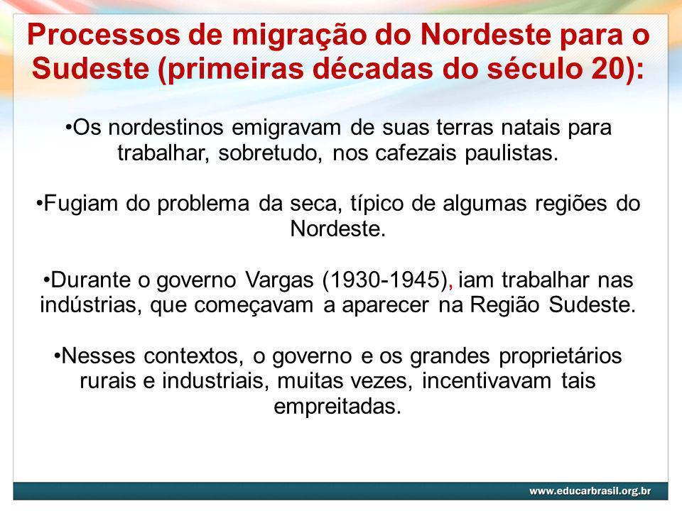 Processos de migração do Nordeste para o Sudeste (primeiras décadas do século 20): Os nordestinos emigravam de suas terras natais para trabalhar, sobretudo, nos cafezais paulistas.
