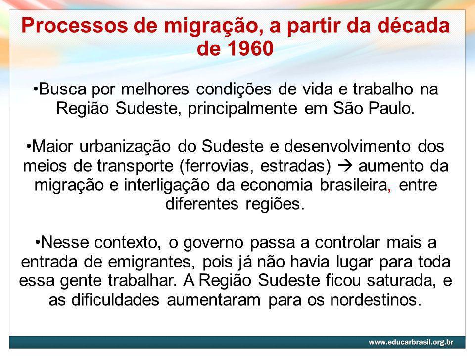 Processos de migração, a partir da década de 1960 Busca por melhores condições de vida e trabalho na Região Sudeste, principalmente em São Paulo.
