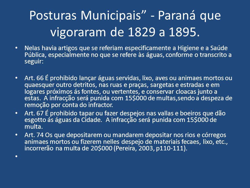 Posturas Municipais - Paraná que vigoraram de 1829 a 1895. Nelas havia artigos que se referiam especificamente a Higiene e a Saúde Pública, especialme