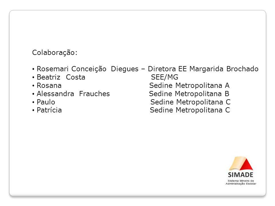 Colaboração: Rosemari Conceição Diegues – Diretora EE Margarida Brochado Beatriz Costa SEE/MG Rosana Sedine Metropolitana A Alessandra Frauches Sedine