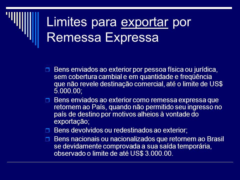 Limites para exportar por Remessa Expressa Bens enviados ao exterior por pessoa física ou jurídica, sem cobertura cambial e em quantidade e freqüência