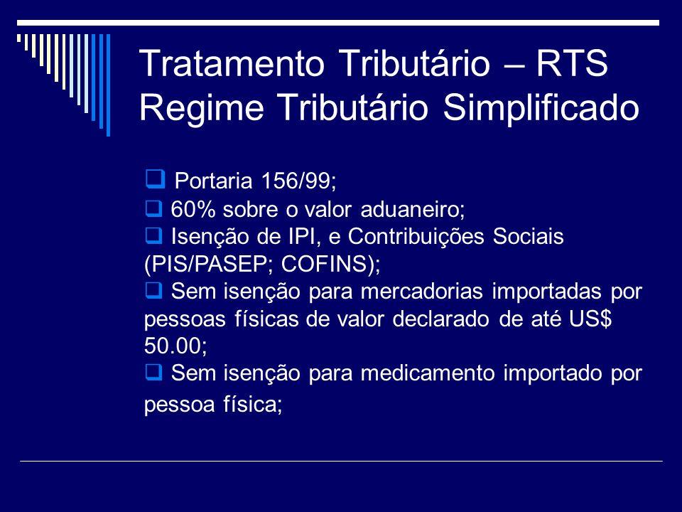 Tratamento Tributário – RTS Regime Tributário Simplificado Portaria 156/99; 60% sobre o valor aduaneiro; Isenção de IPI, e Contribuições Sociais (PIS/