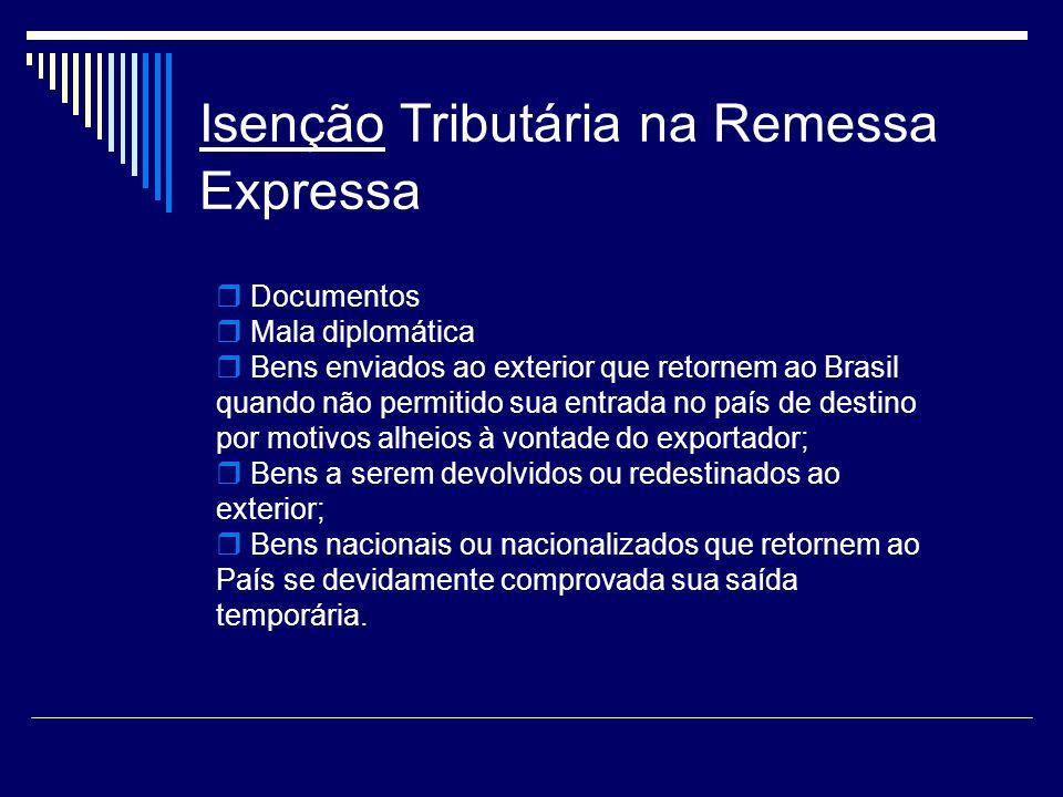 Isenção Tributária na Remessa Expressa Documentos Mala diplomática Bens enviados ao exterior que retornem ao Brasil quando não permitido sua entrada n