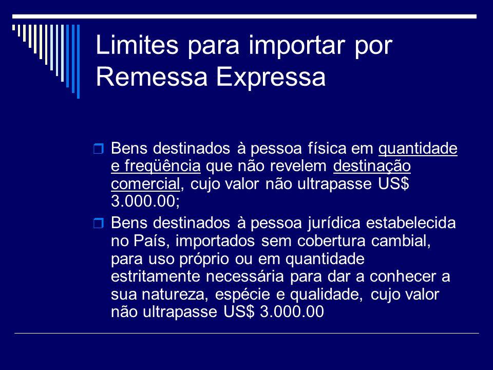 Limites para importar por Remessa Expressa Bens destinados à pessoa física em quantidade e freqüência que não revelem destinação comercial, cujo valor