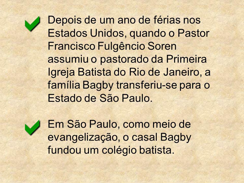 Depois de um ano de férias nos Estados Unidos, quando o Pastor Francisco Fulgêncio Soren assumiu o pastorado da Primeira Igreja Batista do Rio de Jane