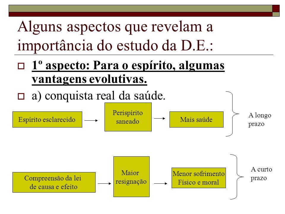 Alguns aspectos que revelam a importância do estudo da D.E.: 1º aspecto: Para o espírito, algumas vantagens evolutivas. a) conquista real da saúde. Es
