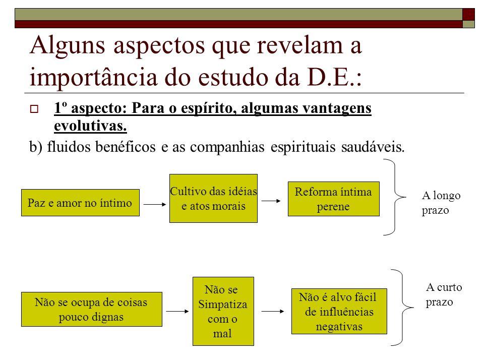 Alguns aspectos que revelam a importância do estudo da D.E.: 1º aspecto: Para o espírito, algumas vantagens evolutivas. b) fluidos benéficos e as comp
