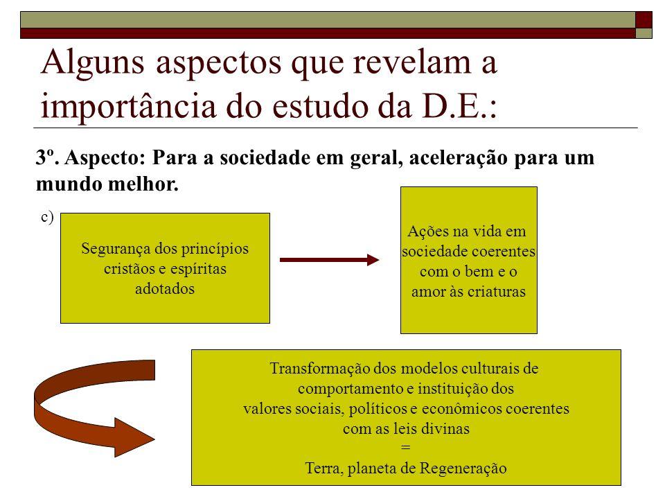 Alguns aspectos que revelam a importância do estudo da D.E.: Segurança dos princípios cristãos e espíritas adotados Ações na vida em sociedade coerent