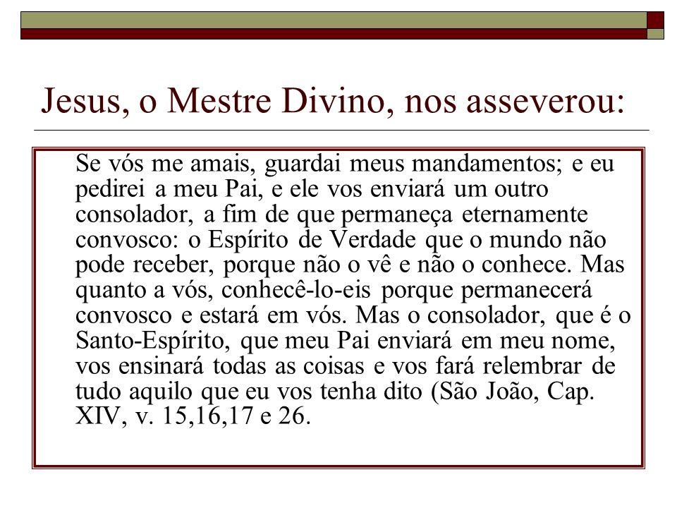 Jesus, o Mestre Divino, nos asseverou: Se vós me amais, guardai meus mandamentos; e eu pedirei a meu Pai, e ele vos enviará um outro consolador, a fim
