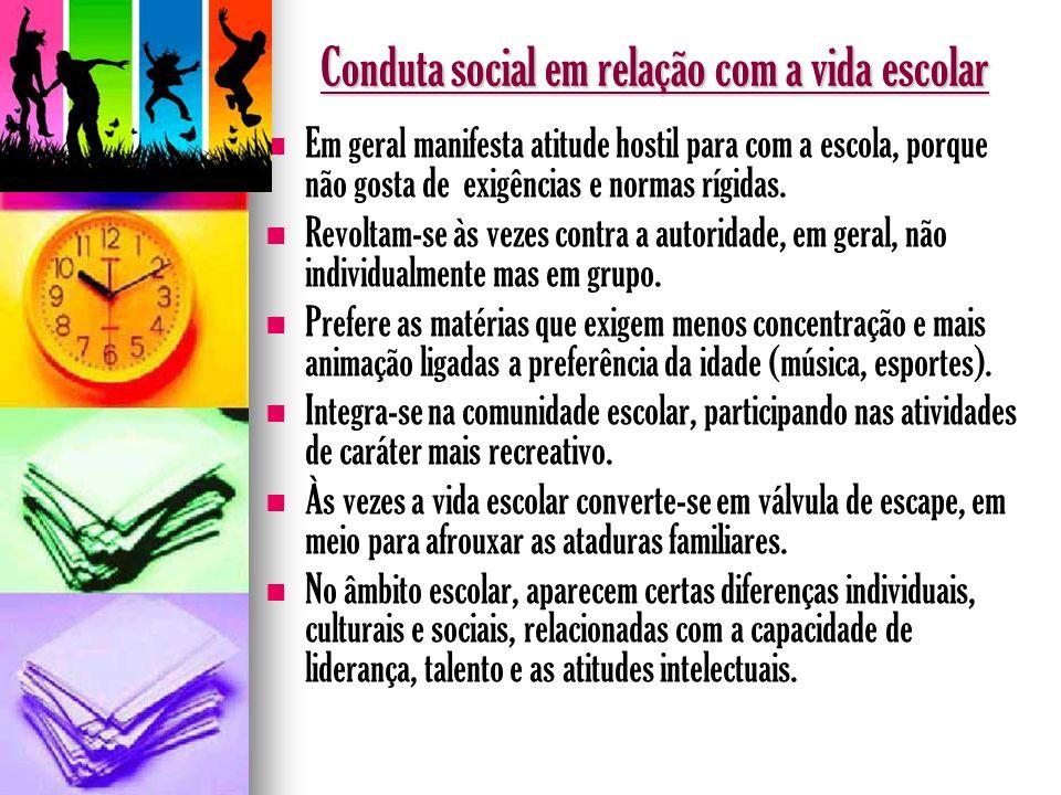 Conduta social em relação com a vida escolar Em geral manifesta atitude hostil para com a escola, porque não gosta de exigências e normas rígidas. Rev