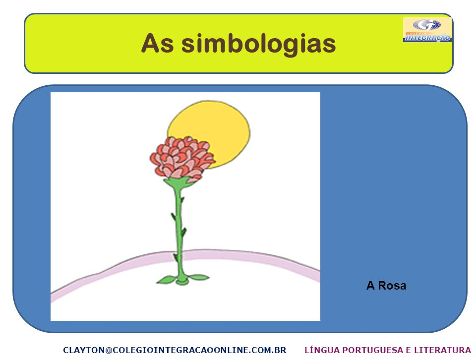 As simbologias CLAYTON@COLEGIOINTEGRACAOONLINE.COM.BR A Rosa LÍNGUA PORTUGUESA E LITERATURA