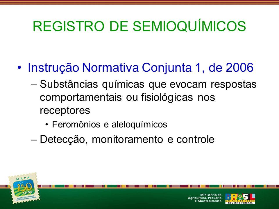 REGISTRO DE SEMIOQUÍMICOS Instrução Normativa Conjunta 1, de 2006 –Substâncias químicas que evocam respostas comportamentais ou fisiológicas nos recep
