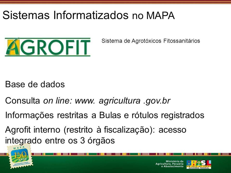 Sistemas Informatizados no MAPA Sistema de Agrotóxicos Fitossanitários Base de dados Consulta on line: www. agricultura.gov.br Informações restritas a