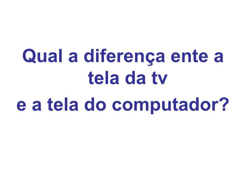 Qual a diferença ente a tela da tv e a tela do computador?