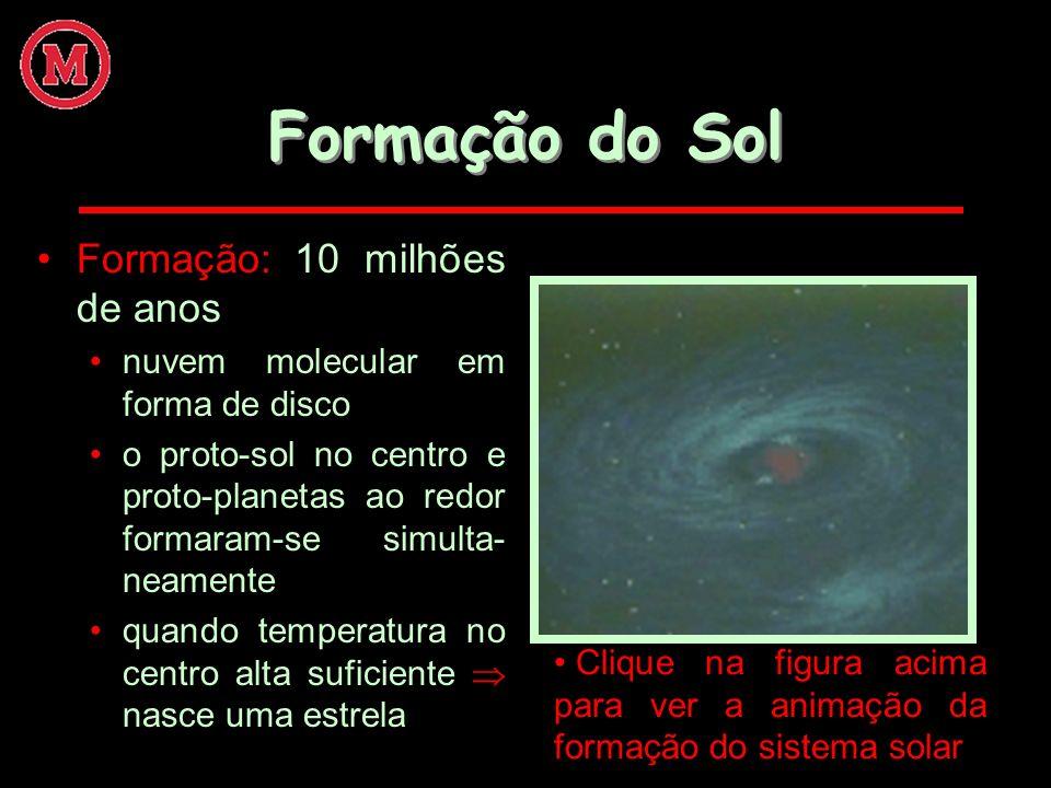 Formação do Sol Formação: 10 milhões de anos nuvem molecular em forma de disco o proto-sol no centro e proto-planetas ao redor formaram-se simulta- ne