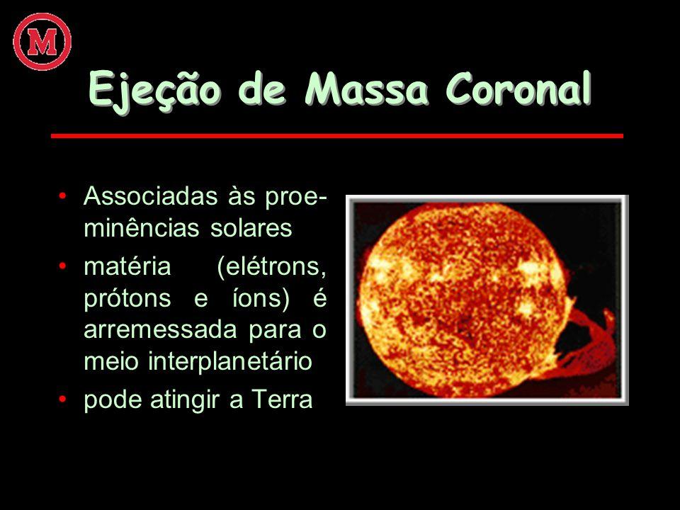 Ejeção de Massa Coronal Associadas às proe- minências solares matéria (elétrons, prótons e íons) é arremessada para o meio interplanetário pode atingi