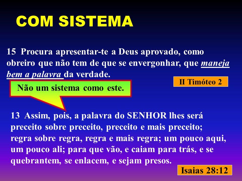 II Timóteo 2 Isaias 28:12 Não um sistema como este. 15 Procura apresentar-te a Deus aprovado, como obreiro que não tem de que se envergonhar, que mane