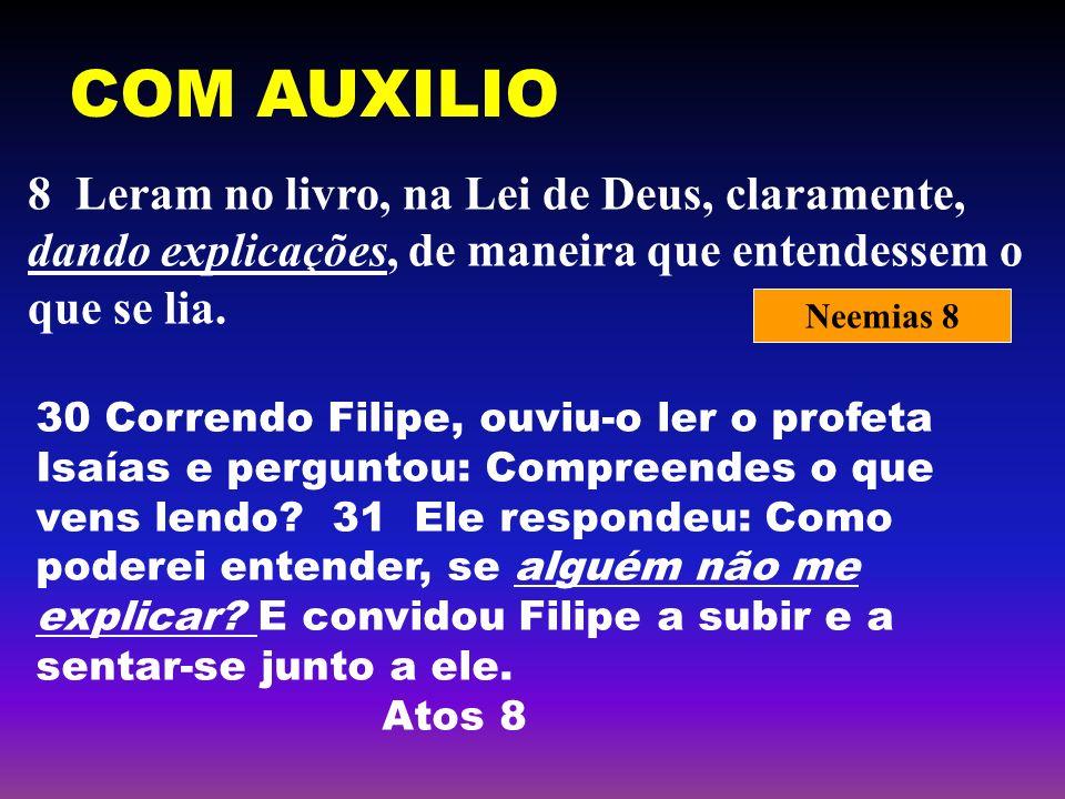 COM AUXILIO 8 Leram no livro, na Lei de Deus, claramente, dando explicações, de maneira que entendessem o que se lia. Neemias 8 30 Correndo Filipe, ou