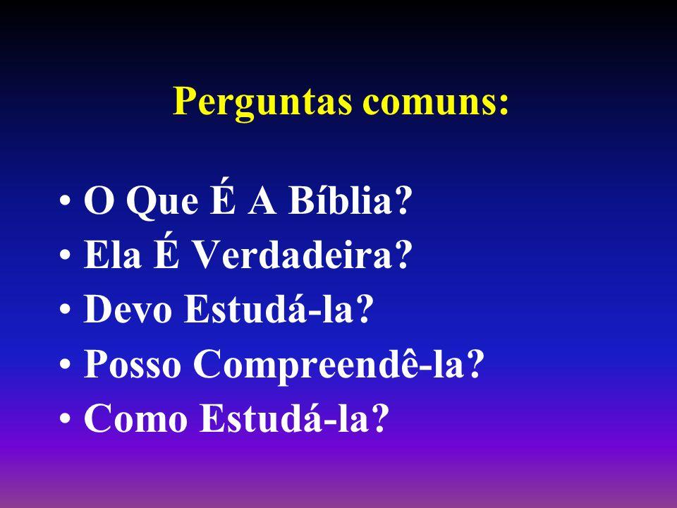 Perguntas comuns: O Que É A Bíblia? Ela É Verdadeira? Devo Estudá-la? Posso Compreendê-la? Como Estudá-la?